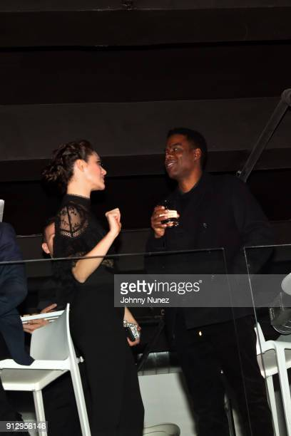 Emmy Rossum and Chris Rock attend 'The Minefield Girl' Audio Visual Book Launch at Lightbox on January 31 2018 in New York City