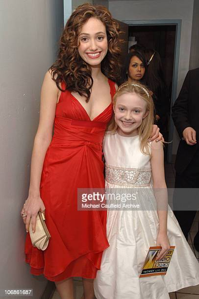 Emmy Rossum and Dakota Fanning during 11th Annual Critics' Choice Awards Backstage at Santa Monica Civic Auditorium in Santa Monica California United...
