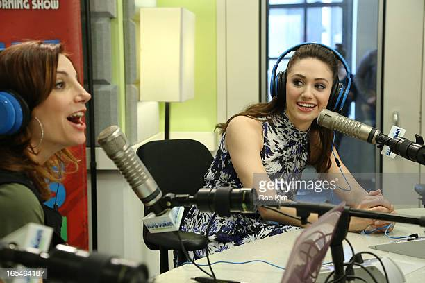 Emmy Rossum and Danielle Monaro at Z100 Studio on April 4 2013 in New York City