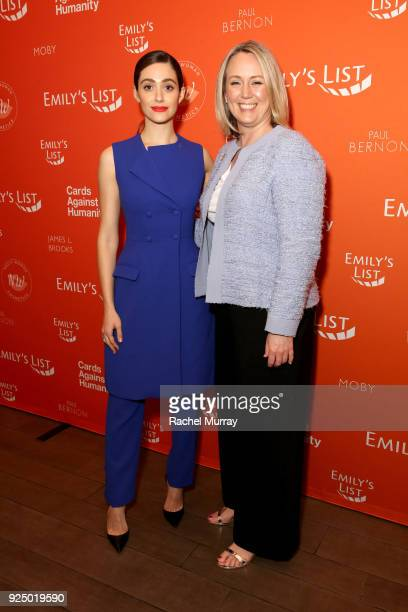 Emmy Rossum and EMILY's List President Stephanie Schriock attend EMILY's List's Resist Run Win PreOscars Brunch on February 27 2018 in Los Angeles...