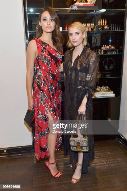 Emmy Rossum and Emma Roberts attend Beats by Dre for VIOLET GREY Party on July 11 2018 in Los Angeles California