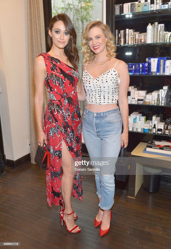 Emmy Rossum (L) and January Jones attend Beats by Dre for VIOLET GREY Party on July 11, 2018 in Los Angeles, California.