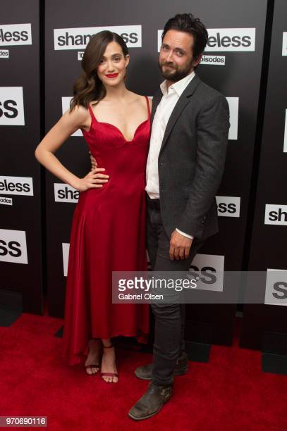 Emmy Rossum and Justin Chatwin arrive for Showtime's 'Shamelesss' 100 Episode Celebration at DREAM Hollywood on June 9 2018 in Hollywood California