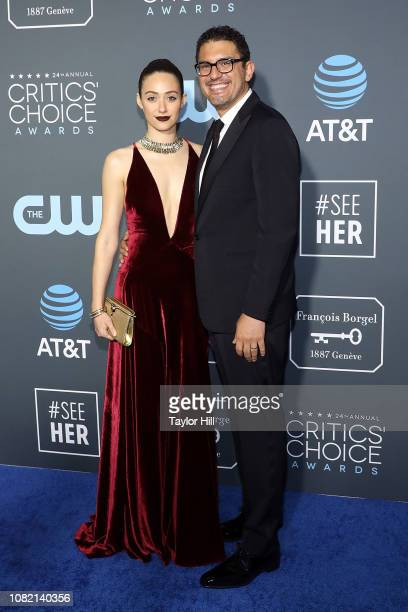 Emmy Rossum and Sam Esmail attend The 24th Annual Critics' Choice Awards at Barker Hangar on January 13 2019 in Santa Monica California
