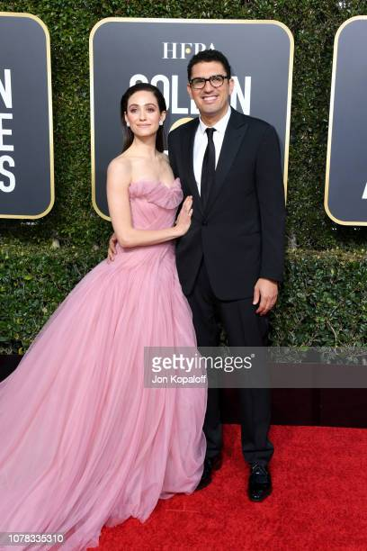Emmy Rossum and Sam Esmail attend the 76th Annual Golden Globe Awards at The Beverly Hilton Hotel on January 6 2019 in Beverly Hills California