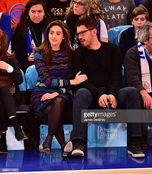 Emmy Rossum and Sam Esmail attend the Los Angeles Clippers vs New York Knicks game at Madison Square Garden on January 22 2016 in New York City