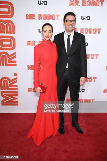 Emmy Rossum and Sam Esmail attend the Mr Robot Season 4 Premiere on October 01 2019 in New York City