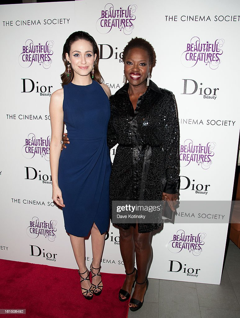 Emmy Rossum and Viola Davis attends The Cinema Society And Dior Beauty Presents A Screening Of 'Beautiful Creatures' at Tribeca Cinemas on February 11, 2013 in New York City.