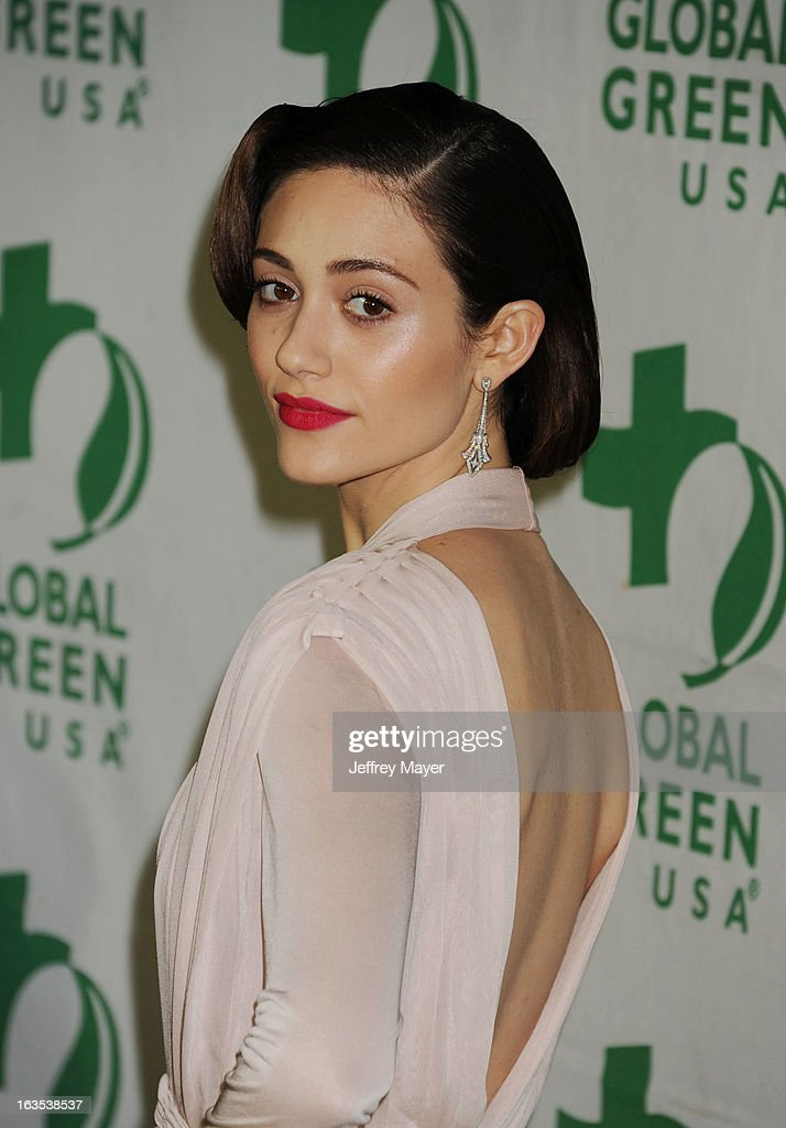 Emmy Rossum arrives at Global Green USA's 10th Annual Pre-Oscar party at Avalon on February 20, 2013 in Hollywood, California.