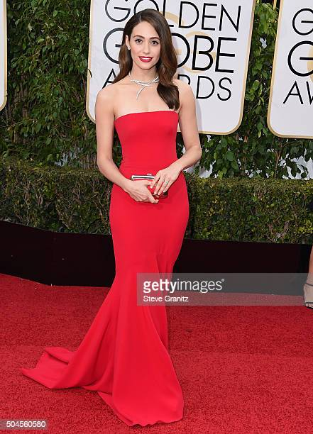 Emmy Rossum arrives at the 73rd Annual Golden Globe Awards at The Beverly Hilton Hotel on January 10 2016 in Beverly Hills California