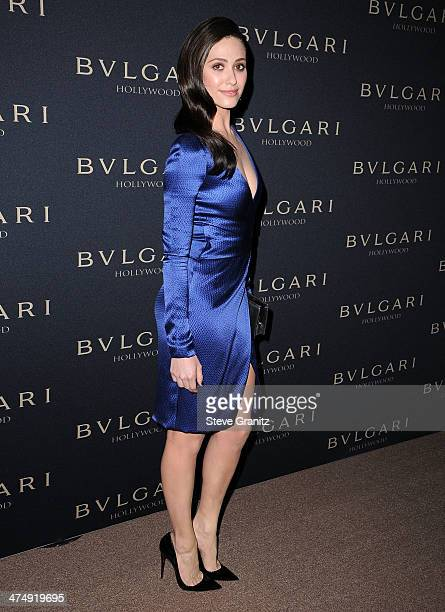 Emmy Rossum arrives at the BVLGARI Decades Of Glamour Oscar Party Hosted By Naomi Watts at Soho House on February 25 2014 in West Hollywood California