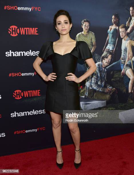 Emmy Rossum arrives at the Emmy For Your Consideration Event for Showtime's Shameless at Linwood Dunn Theater on May 24 2018 in Los Angeles California