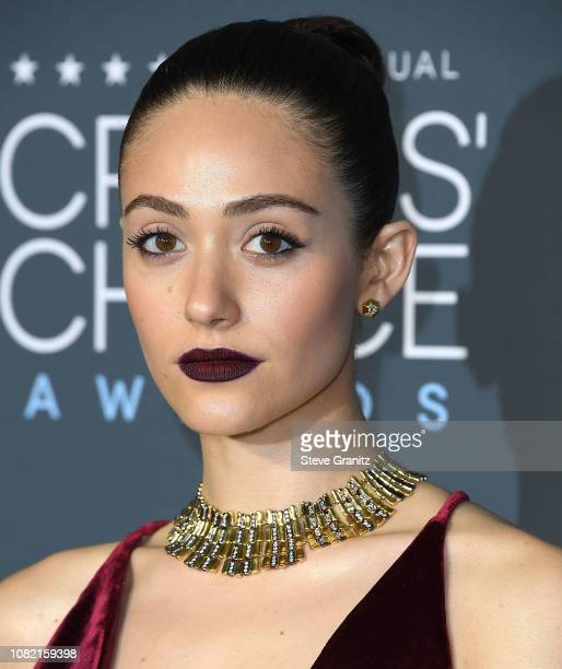 Emmy Rossum arrives at the The 24th Annual Critics' Choice Awards attends The 24th Annual Critics' Choice Awards at Barker Hangar on January 13 2019...