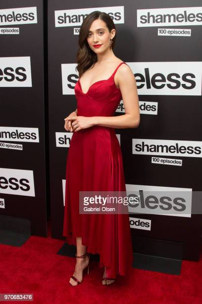 Emmy Rossum arrives for Showtime's Shamelesss 100 Episode Celebration at DREAM Hollywood on June 9 2018 in Hollywood California