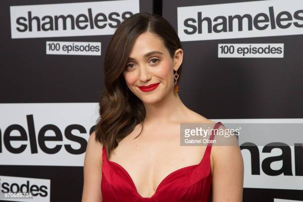 Emmy Rossum arrives for Showtime's 'Shamelesss' 100 Episode Celebration at DREAM Hollywood on June 9 2018 in Hollywood California