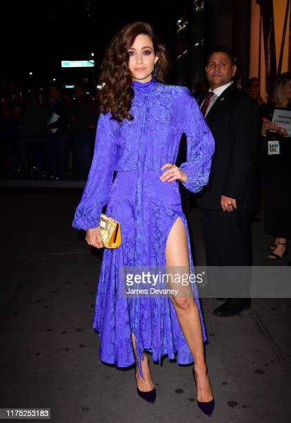 Emmy Rossum arrives to Amazon's Museum Of Modern Love popup at 632 Broadway on October 10 2019 in New York City