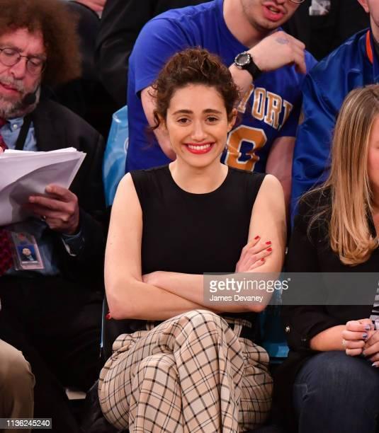 Emmy Rossum attends Detroit Pistons v New York Knicks game at Madison Square Garden on April 10 2019 in New York City