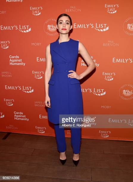 Emmy Rossum attends EMILY's List PreOscars Brunch and Panel on February 27 2018 in Los Angeles California