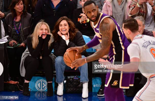 Emmy Rossum attends Los Angeles Lakers v New York Knicks game at Madison Square Garden on March 17 2019 in New York City