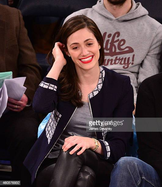 Emmy Rossum attends New York Knicks vs Dallas Mavericks game at Madison Square Garden on December 16 2014 in New York City