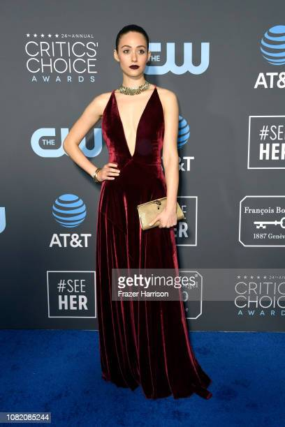 Emmy Rossum attends the 24th annual Critics' Choice Awards at Barker Hangar on January 13 2019 in Santa Monica California