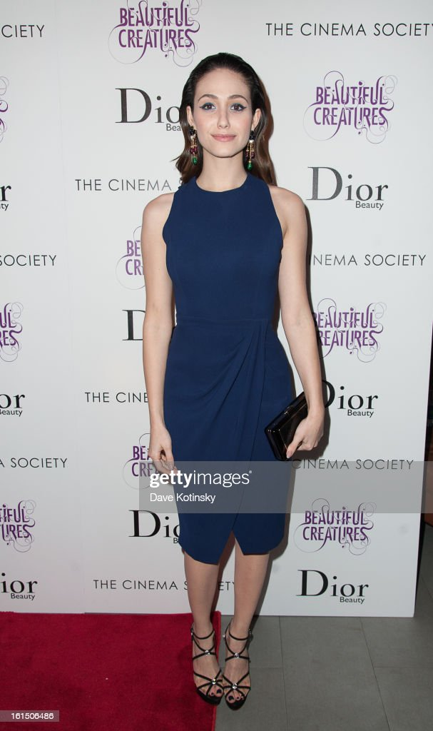 Emmy Rossum attends The Cinema Society And Dior Beauty Presents A Screening Of 'Beautiful Creatures' at Tribeca Cinemas on February 11, 2013 in New York City.