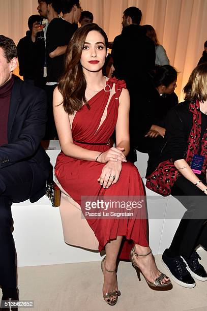 Emmy Rossum attends the Lanvin show as part of the Paris Fashion Week Womenswear Fall/Winter 2016/2017 on March 3 2016 in Paris France