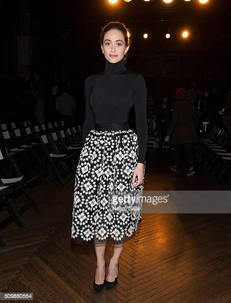 Emmy Rossum attends the Monse fashion show during Fall 2016 New York Fashion Week at The High Line Hotel on February 12 2016 in New York City