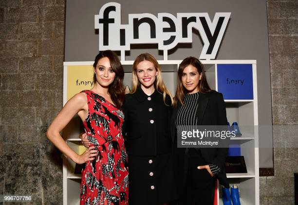 Emmy Rossum Brooklyn Decker and Mandana Dayani attend the Finery App launch party hosted by Brooklyn Decker at Microsoft Lounge on July 11 2018 in...