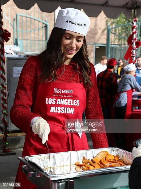 Emmy Rossum is seen at the annual Los Angeles Mission Christmas Dinner on December 24 2015 in Los Angeles California
