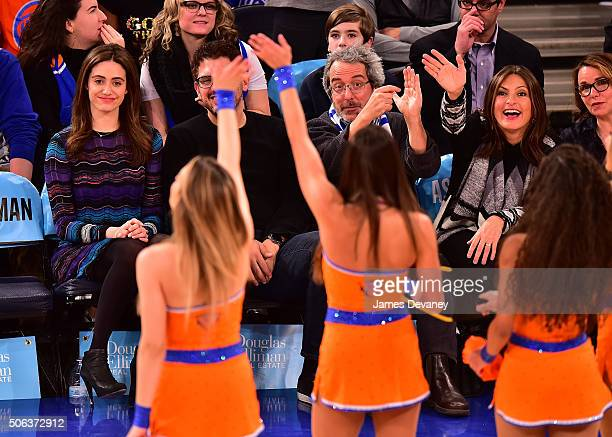 Emmy Rossum Sam Esmail guest and Mariska Hargitay attend the Los Angeles Clippers vs New York Knicks game at Madison Square Garden on January 22 2016...
