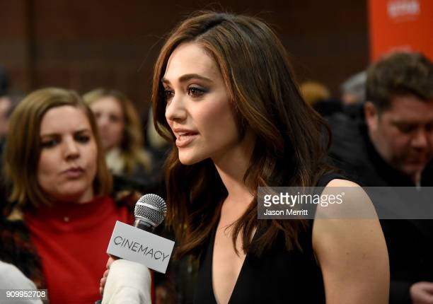 Emmy Rossum speaks at the 'A Futile And Stupid Gesture' Premiere during the 2018 Sundance Film Festival at Eccles Center Theatre on January 24 2018...