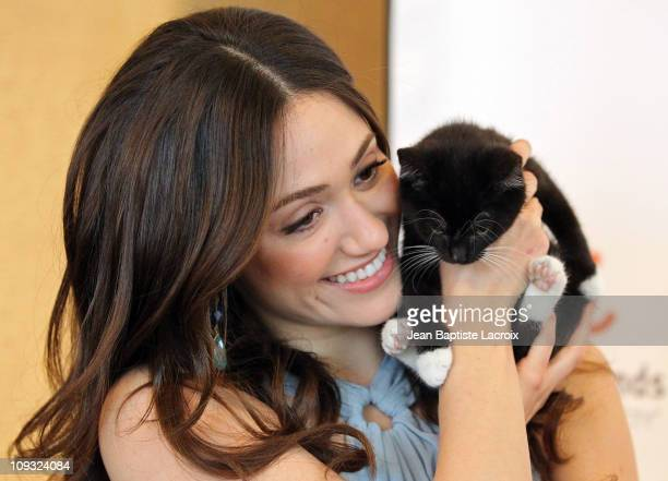 Emmy Rossum visits a Best Friends Animal Society 'Acatemy Awards' Pet Adoption Event on February 19 2011 in Los Angeles California