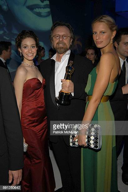 Emmy Rosum Jan AP Kaczmarek and Karolina Kurkova attend Vanity Fair Oscar Party at Morton's Restaurant on February 27 2005 in Los Angeles California