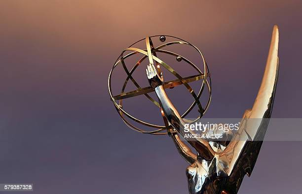 Emmy Statue is seen in front of the Television Academy during the red carpet for the 68th Los Angeles Emmy Awards featuring Niecy Nash Jason George...