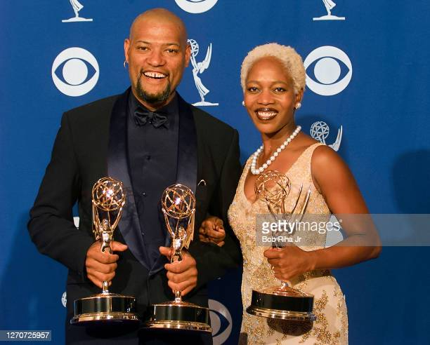 Emmy Winners Alfre Woodard and Laurence Fishburne at Emmy Awards Show, September 8, 1996 in Pasadena, California.
