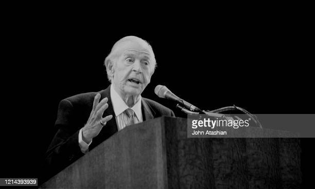 Emmy winning comedian and actor Milton Berle is shown at an event celebrating his 85 years in show business on March 12, 1998.