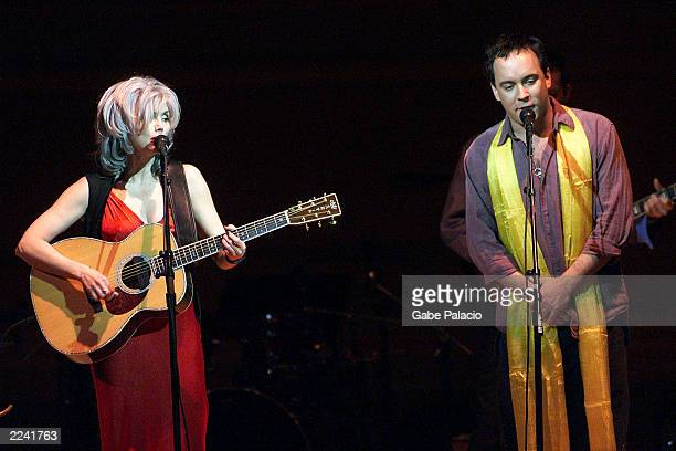 Emmylou Harris and Dave Matthews on stage performing during the Tibet House Benefit Concert 2001 with artistic director Philip Glass Dana Bryant...