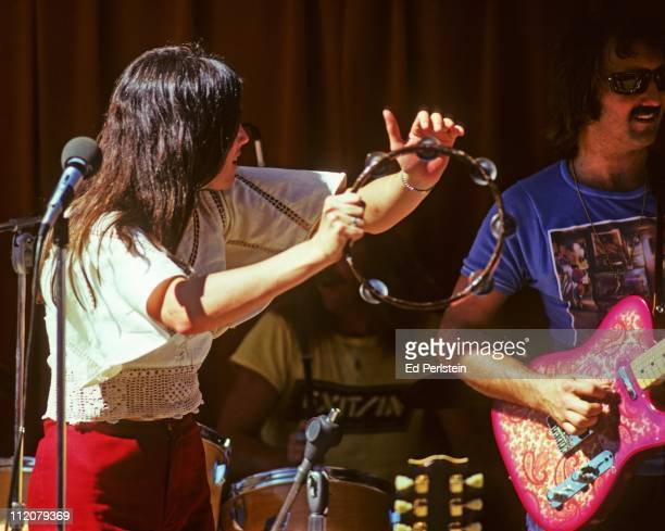 Emmylou Harris and James Burton perform in August, 1975 with the Hot Band at the Napa County Fairgrounds in Napa, California.