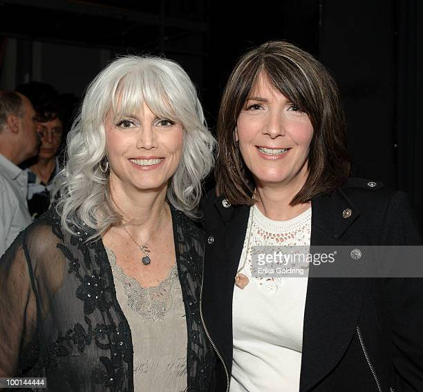 Emmylou Harris and Kathy Mattea backstage during the Music Saves Mountains benefit concert at the Ryman Auditorium on May 19 2010 in Nashville...