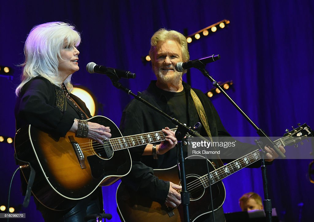 Emmylou Harris and Kris Kristofferson perform at The Life & Songs of Kris Kristofferson produced by Blackbird Presents at Bridgestone Arena on March 16, 2016 in Nashville, Tennessee.