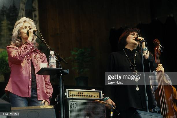 Emmylou Harris and Linda Ronstadt performing at The Telluride Bluegrass Festival in Telluride, Colorado in June 22, 2002.
