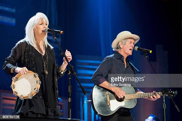 Emmylou Harris and Rodney Crowell perform at Ryman Auditorium on September 21 2016 in Nashville Tennessee