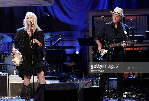 Emmylou Harris and Rodney Crowell perform onstage at the Americana Honors Awards 2016 at Ryman Auditorium on September 21 2016 in Nashville Tennessee...