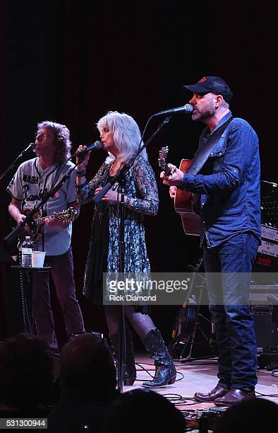 Emmylou Harris Friends Sam Bush and John Randall perform during a special engagement benefitting Bonaparte's Retreat at City Winery Nashville on May...