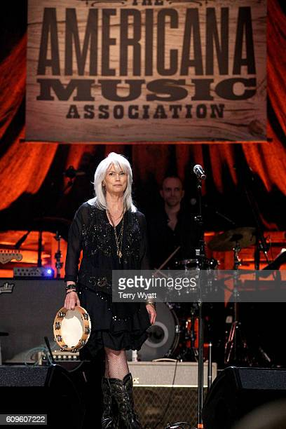 Emmylou Harris performs onstage at the Americana Honors Awards 2016 at Ryman Auditorium on September 21 2016 in Nashville Tennessee at Ryman...