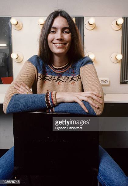 Emmylou Harris posed in her dressing room in Amsterdam, Netherlands in 1975