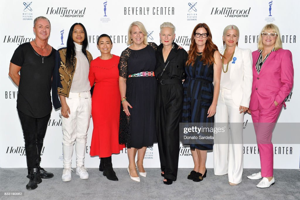 Emmy-nominated costume designers Perry Meek, Zaldy Goco, Ane Crabtree, The Hollywood Reporter's Style and Fashion News Director Booth Moore, and Emmy-nominated costume designers Lou Eyrich, Alix Friedberg, Trish Summerville, and Marie Schley at Beverly Center and The Hollywood Reporter's Candidly Costume event at Beverly Center on August 16, 2017 in Los Angeles, California.