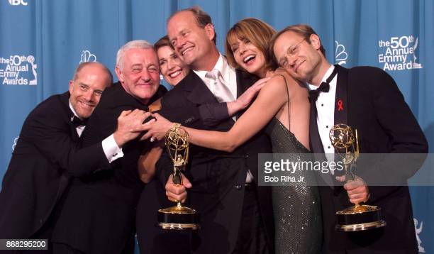Emmywinners Actors Kelsey Grammer and David Hyde Pierce are joined by fellow 'Frasier' cast members actors Jane Leeves Peri Gilpin John Mahoney and...