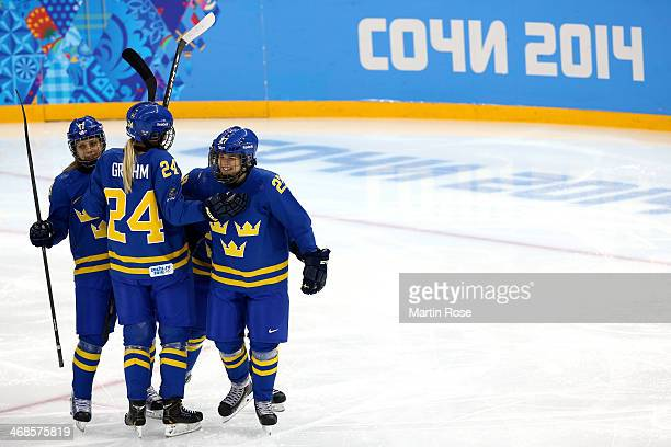 Emna Nordin of Sweden celebrates scoring the first goal with her teammates Erika Grahm and Linnea Backman of Sweden in the first period against...
